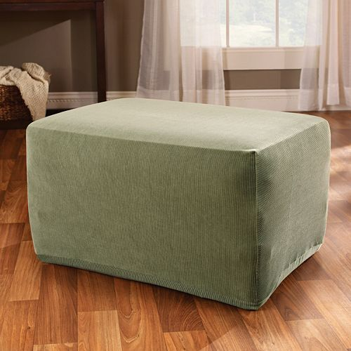 Sure Fit™ Striped Ottoman Slipcover