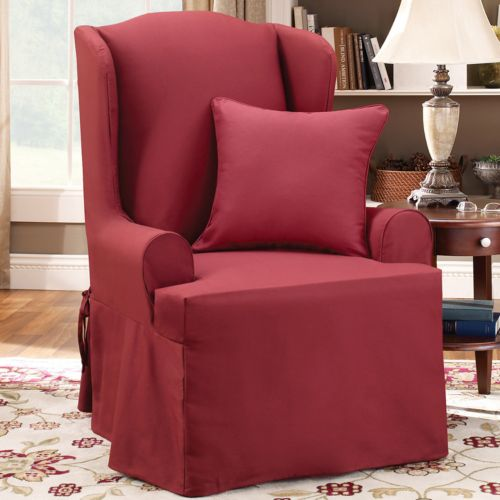 Sure Fit Twill Supreme Wing Chair Slipcover