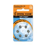 Crystal Clear 6-pk. 13A Premium Zinc Air Hearing Aid Batteries