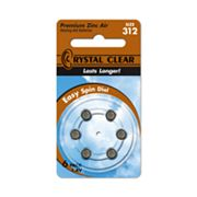 Crystal Clear 6-pk. 312A Premium Zinc Air Hearing Aid Batteries