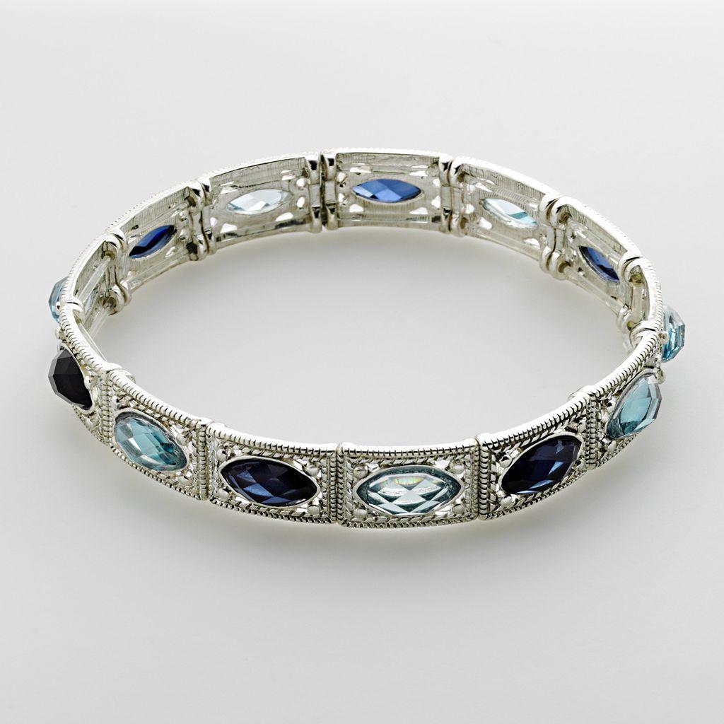 1928 Blue Marquise Stretch Bracelet