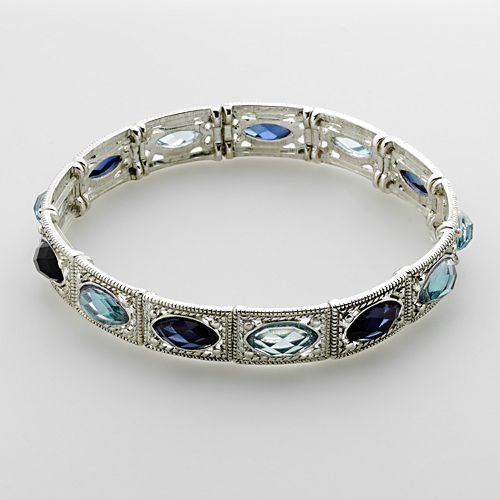 1928 Blue Marquise Stretch Bracelet