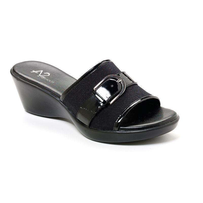 A2 by Aerosoles Black Eyes On You Wedge Sandals - Women