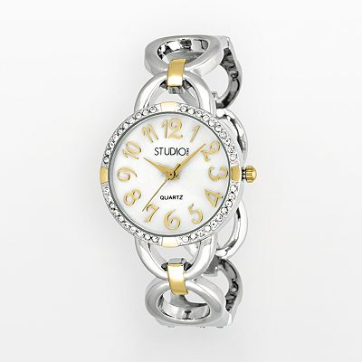 Studio Time Two Tone Simulated Crystal Bangle Watch - Women