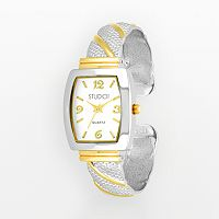 Studio Time Women's Two Tone Striped Cuff Watch