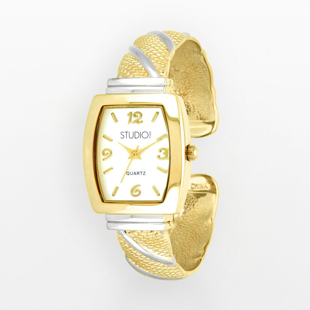 Studio Time Women's Two Tone Striped Cuff Watch