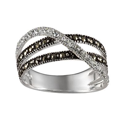 Sterling Silver Marcasite and Crystal Crisscross Ring