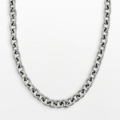 Stainless Steel Rolo-Link Necklace - Men
