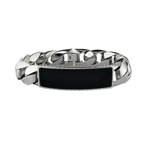 LYNX Stainless Steel Onyx ID Bracelet