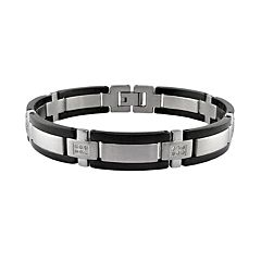 LYNX Stainless Steel Black Ion 1/4 ctT.W. Diamond Bracelet - Men