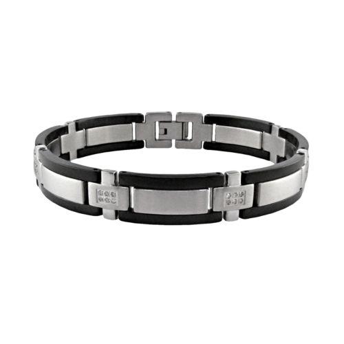 Stainless Steel Black Ion 1 4 ct T W Diamond Bracelet Men
