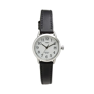 Timex Easy Reader Silver Tone Leather Watch - Women