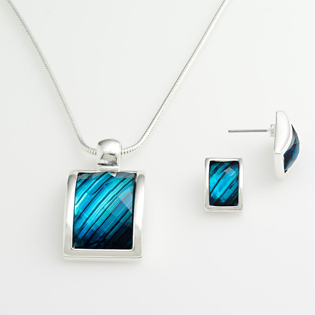 Silver-Tone Rectangle Pendant & Stud Earring Set