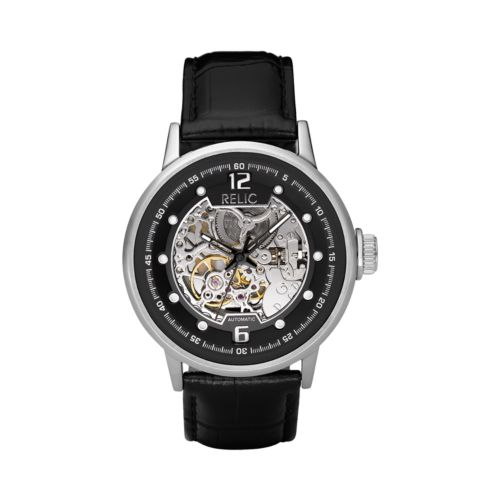 Relic Stainless Steel Automatic Leather Skeleton Watch - Men