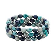 Dyed Freshwater Cultured Pearl Flex Bracelet Set
