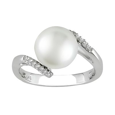 Sterling Silver Freshwater Cultured Pearl and Diamond Accent Bypass Ring