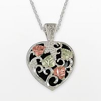 Black Hills Gold Tri-Tone Onyx Scrollwork Heart Pendant in Sterling Silver