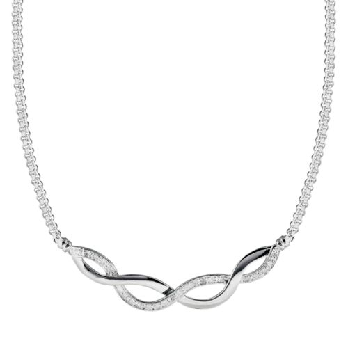 Sterling Silver 1/4-ct. T.W. Round-Cut Diamond Infinity Necklace
