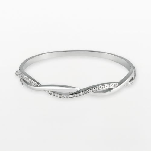 Sterling Silver 1/4-ct. T.W. Diamond Infinity Bangle Bracelet