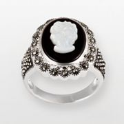 Sterling Silver Onyx and Mother-of-Pearl Cameo Ring