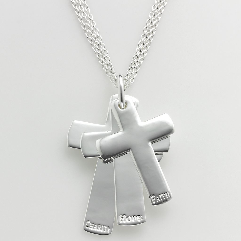 Sterling Silver Faith, Hope and Charity Cross Pendant
