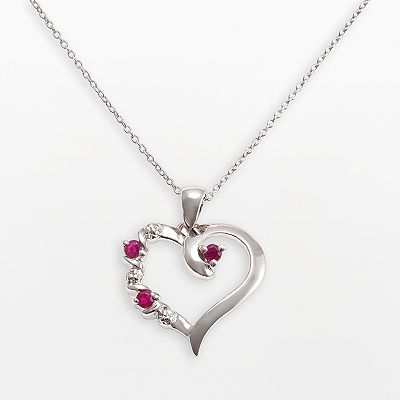Gem Sensations Sterling Silver Ruby and Diamond Accent Heart Pendant