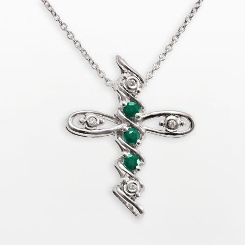 Gem Sensations Sterling Silver Emerald and Diamond Accent Cross Pendant