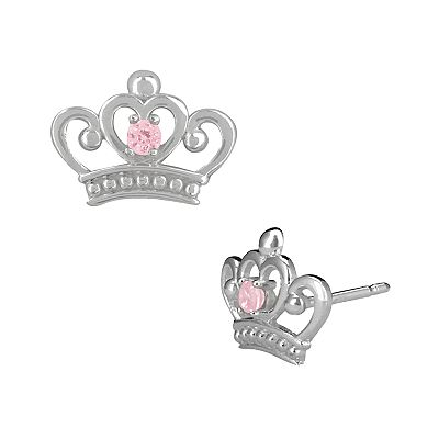Disney Princess Sterling Silver Cubic Zirconia Crown Stud Earrings - Kids