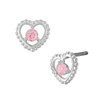 Disney Princess Sterling Silver Cubic Zirconia Stud Earrings - Kids
