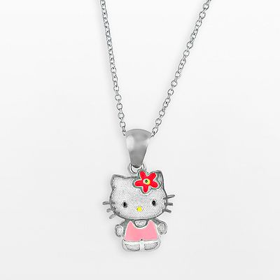 Hello Kitty Sterling Silver Charm Necklace - Kids