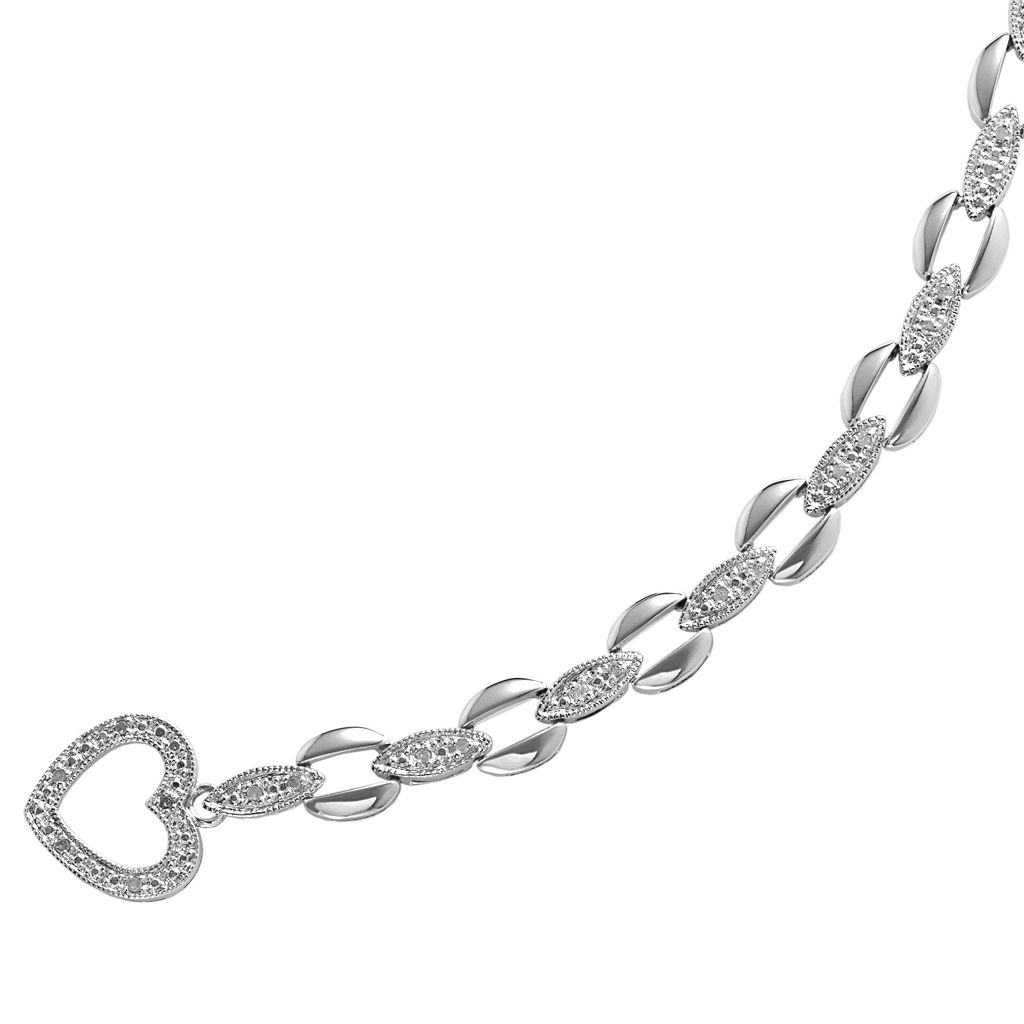 Sterling Silver 1/4-ct. T.W. Diamond Oval-Link Bracelet