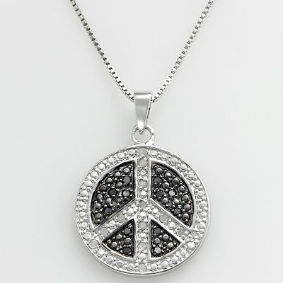 Sterling Silver 1/4-ct. T.W. Black and White Diamond Peace Sign Pendant