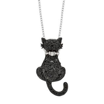 Sterling Silver 1/4-ct. T.W. Black & White Diamond Cat Pendant