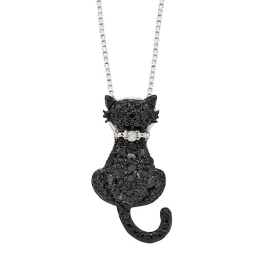 Sterling Silver 1/4-ct. T.W. Black and White Diamond Cat Pendant