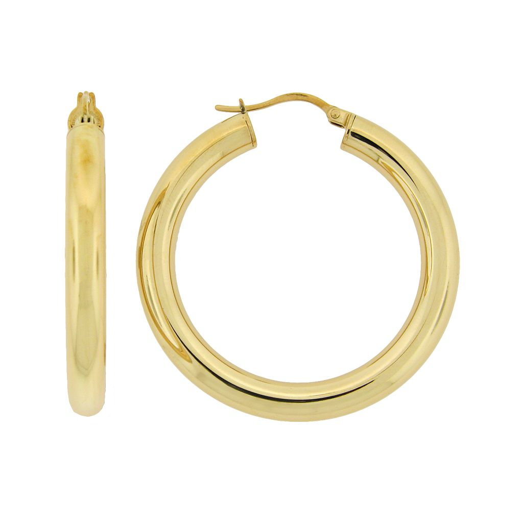 Stainless Steel Gold-Tone Hoop Earrings