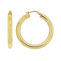 Stainless Steel Gold-Tone Hoop Earrings
