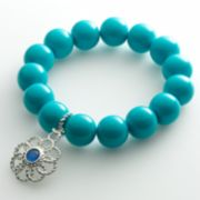 Dana Buchman Silver-Tone Floral Charm Flex Bracelet