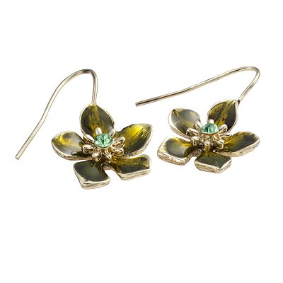 1928 Brass Tone Simulated Crystal Floral Drop Earrings