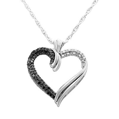 Sterling Silver 1/4-ct. T.W. Black and White Diamond Heart Pendant