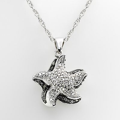 Sterling Silver 1/4-ct. T.W. Black and White Diamond Starfish Pendant