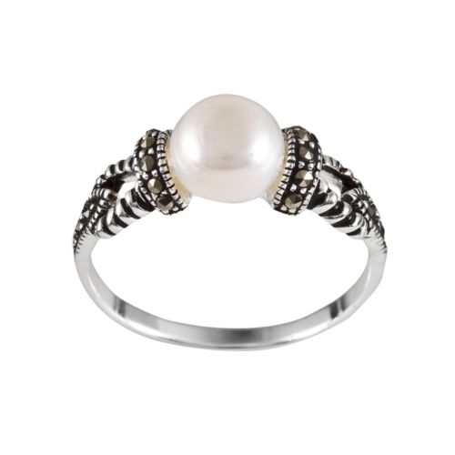 Sterling Silver Freshwater Cultured Pearl and Marcasite Ring