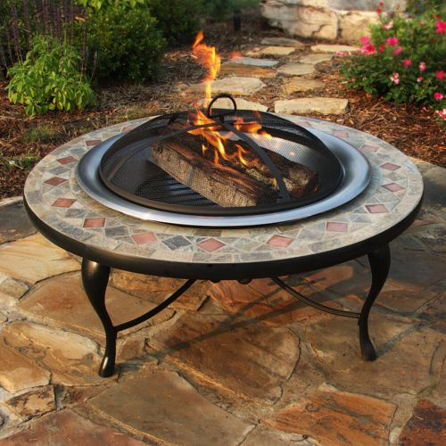 Mosaic Tile Fire Pit - Outdoor