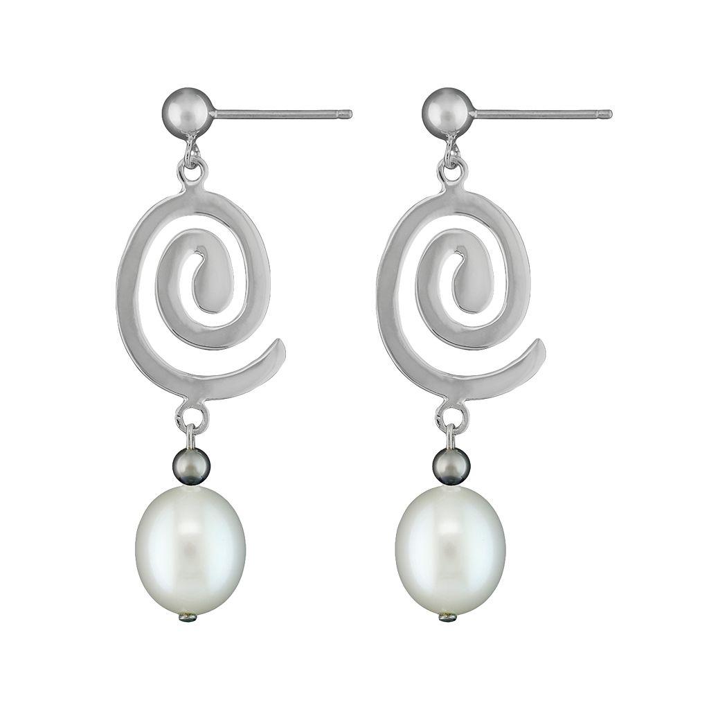 Sterling Silver Freshwater Cultured Pearl Swirl Drop Earrings