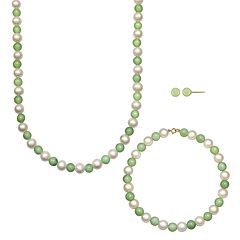14k Gold Freshwater Cultured Pearl & Jade Necklace, Bracelet & Stud Earring Set