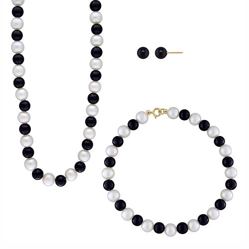 14k Gold Freshwater Cultured Pearl & Onyx Necklace, Bracelet & Stud Earring Set