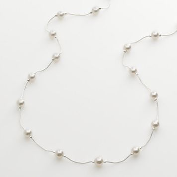 Silver Tone Simulated Pearl Long Necklace