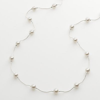 Croft and Barrow Silver Tone Simulated Pearl Long Necklace