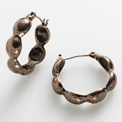 Dana Buchman Bronze Tone Scalloped Hoop Earrings