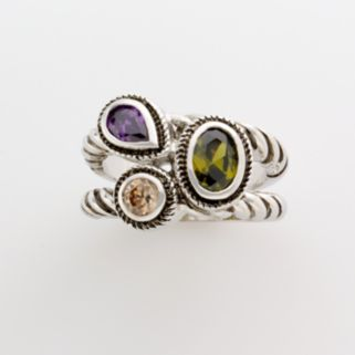 Silver-Tone Cluster Ring