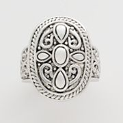 Silver-Tone Filigree Oval Ring